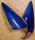 NORWAY STERLING Silver Blue ENAMEL Brooch PIN 1960s Einar Modahl