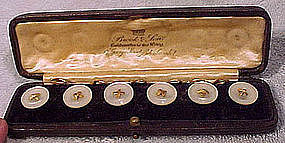 Edwardian 15K Mother of Pearl BUTTON SET in BOX 1900 1910 Vest Buttons