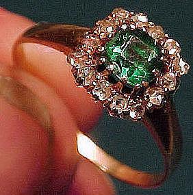 Georgian 14K GLASS EMERALD & DIAMONDS RING 1780-1800