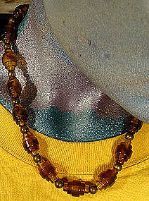 INDUSTRIAL DECO CELLULOID & BRASS NECKLACE c1920-30