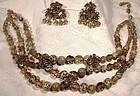 Christian DIOR Glass Rhinestone Necklace Earrings Set 1958 1959