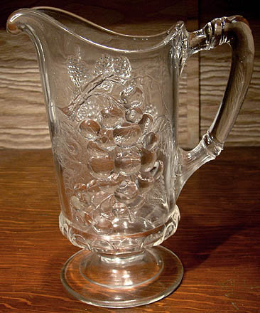 LOGANBERRY & GRAPE EAPG WATER PITCHER c1880s