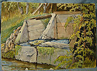 GEORGE S CULLEY WATERCOLOUR PAINTING - Credit River, Ontario, Canada