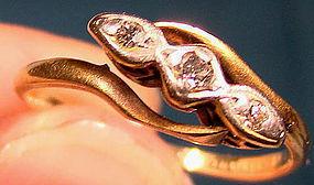 Edwardian 18K Yellow Gold & PLATINUM DIAMONDS RING 1910