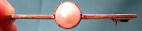 Edwardian 9K ROSE GOLD MABE PEARL BAR PIN 1900-10