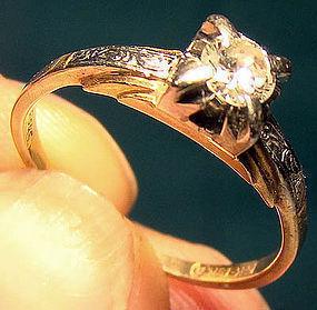 Art Deco 14K & 18K DIAMOND SOLITAIRE RING 1920s
