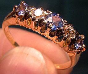 18K DIAMONDS & CORNFLOWER SAPPHIRES ROW RING 1890 Victorian