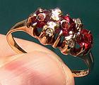 Victorian 14K GARNETS & DIAMONDS RING c1890-1900