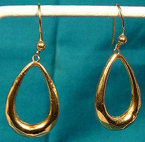 9K EDWARDIAN DROP HOOP EARRINGS c1900-10