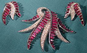 Marcel BOUCHER RED & WHITE Rhinestones TREMBLER Brooch & Earrings