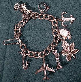 Sterling Silver Charm Bracelet 8 Charms 1950s Kramer Statue of Liberty