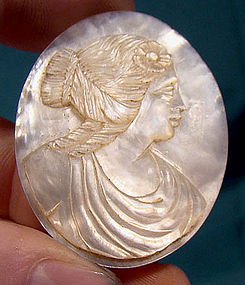 MOTHER OF PEARL HAND CARVED PORTRAIT CAMEO c1890