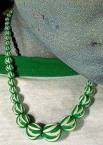 FRENCH CARVED GALALITH NECKLACE 1930s Green White NOS