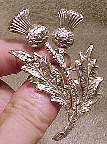 Large STERLING SILVER THISTLE PIN 1950