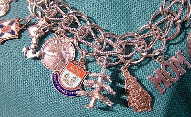STERLING DOUBLE LINK CHARM BRACELET with 16 CHARMS