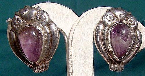 1930s Pair MEXICAN STERLING SILVER & AMETHYST OWL EARRINGS