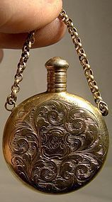 19thC GILT STERLING ENGRAVED CHATELAINE PERFUME FLASK