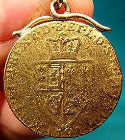 1791 GEORGE III 22K GOLD SPADE GUINEA PENDANT FOB