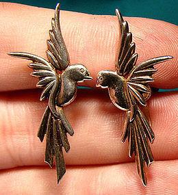 Stylish Retro STERLING SILVER BIRD EARRINGS c1940s-50s