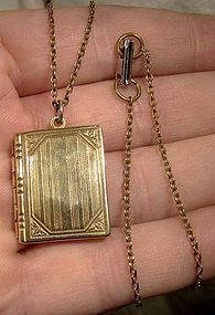GF BOOK SHAPED PHOTO LOCKET ON CHAIN c1930s