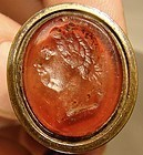 Gilt Brass GEORGE III GLASS INTAGLIO SEAL FOB 1780 1800