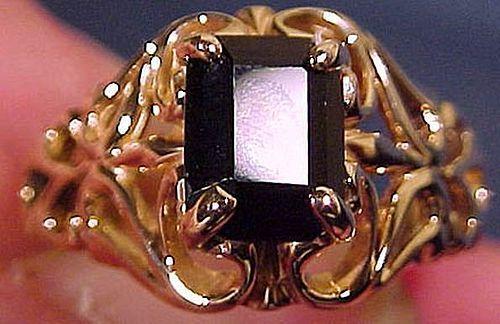 14K Black Onyx Butterfly Filigree Ring 1960s 14 K Gold Size 6-1/4