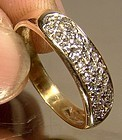 Elegant 14K PAVE DIAMONDS RING WEDDING BAND 1980s Size 6-1/2