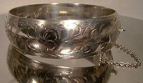 Signed BIRKS Hand Engraved STERLING BANGLE BRACELET