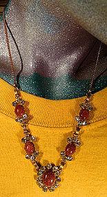 Vintage STAR-ART GF GOLDSTONE & R/S NECKLACE