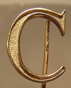 10K Gold Forstner C INITIAL STICKPIN c1940s-50s