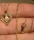 10K DOUBLE HEART SHAPE CULTURED PEARL PENDANT NECKLACE 10 K 1960s