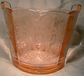 Paden City Cupid Etch Pink Depression Elegant Glass Ice Tub