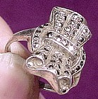 Vintage STERLING & MARCASITE BOW RING c1950