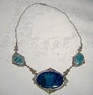 Edwardian Sterling Silver Swiss Lapis Blue Marcasites Lavaliere