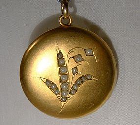 Victorian Gold Filled Lily of the Valley Seed Pearl Photo LOCKET 1890