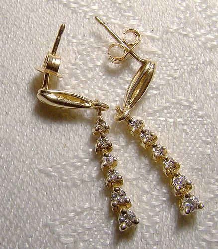 14K Graduated  Diamond Drop Swing Row Earrings 1970s 14 K Pierced