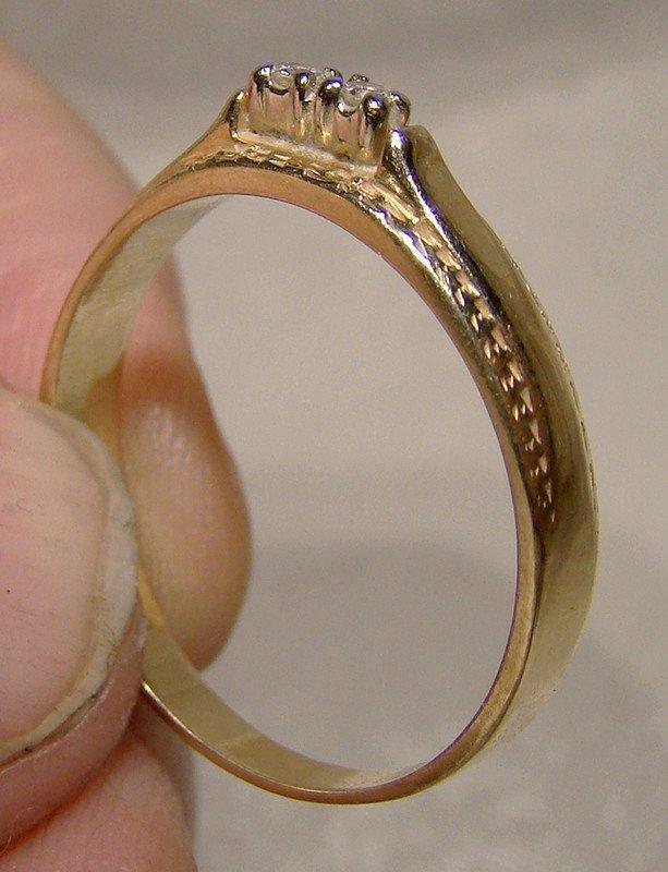 14K Diamonds Ring or Band 1970s Wedding Band Size 8-1/2