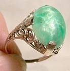 14K White Gold Filigree Art Deco Peking Glass Ring 1920s