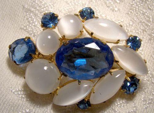 Moonstone Glass and Blue Rhinestone & Glass Brooch Pin 1950s