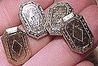 Art Deco 10K WHITE GOLD ENGRAVED CUFFLINKS c1920