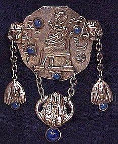 Superb Deco OSIRIS EGYPTIAN SP DANGLE BROOCH 1920