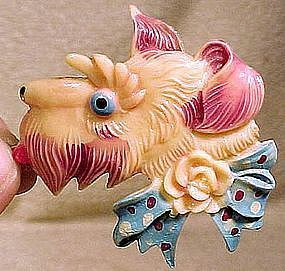 Painted MOLDED CELLULOID SCOTTIE DOG PIN c1930-40s