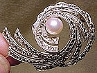 Eatons STERLING MARCASITE CULTURED PEARL SWIRL PIN 1950s