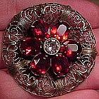 CZECH FILIGREE RED + WHITE CRYSTAL DRESS CLIP c1920