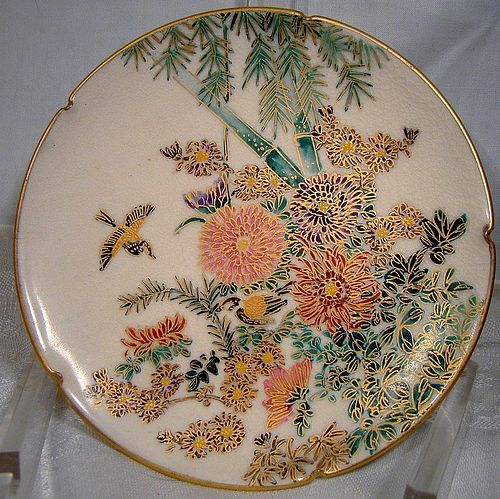 SATSUMA Lobed PLATE Hand Painted Chrysanthemums Bamboo & Birds 1900