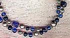 BLUE GLASS & FAUX PEARL Long NECKLACE c1960s