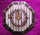 Edwardian OPALESCENT BAISSE TAILLE ENAMEL PIN c1910-15