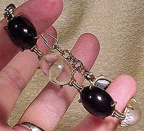 GP BLACK & CLEAR GLASS CABOCHON BRACELET c1930s