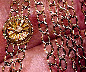 GF WATCH CHAIN with 12K PEARL SLIDE c1890-1900