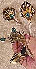 Huge CORO RETRO GILT STERLING COAT PIN 1940s